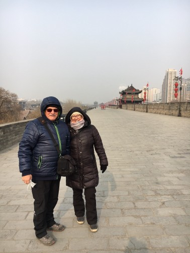 xi'an parents on city wall